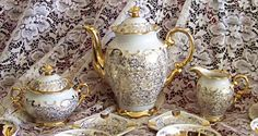 Hause Dresden Demitasse Tea Set - 24K Gold over white porcelain fine china