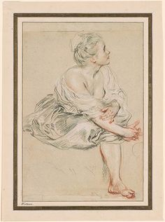 Antoine Watteau (1684-1721) Seated Young Woman 1716 Black, red, and white chalk on paper. 10 x 6 3/4 inches (254 x 171 mm) I, 278a