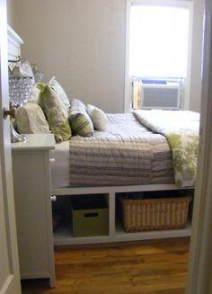 DIY bed with under bed storage. Upgrade children's bed frame to create more storage! Furniture Projects, Home Projects, Home Crafts, Diy Furniture, Diy Home Decor, Modern Furniture, Furniture Design, Under Bed Storage, Diy Storage