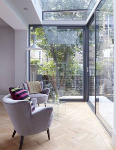 Modern Glass Extension on a 5 Story London Townhouse in interior design architecture Category Inspiration for my dream sun room Interior Design Kitchen, Interior And Exterior, Interior Decorating, Interior Doors, Decorating Tips, Interior Design London, Interior Modern, Small Conservatory, Conservatory Interiors