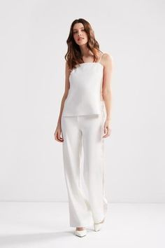 Get ready to turn heads in our Gwynne Pants. This style is a wide-leg woven... Wide Leg, Jumpsuit, Legs, Silk, Model, How To Wear, Pants, Wedding, Dresses