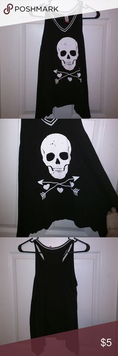 NWOT, black and white tank, with skull design, M. New without tags, black and white tank with skull, arrows, and hearts design. Size medium. No Boundaries Tops Tank Tops