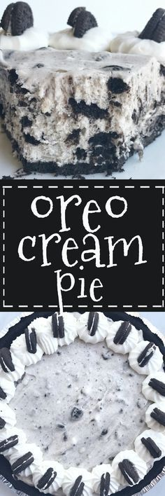 Oreo cream pie will be one of the easiest desserts you ll ever make. An Oreo cookie crust filled with a cream Oreo filling. Top with additional whipped cream and Oreos for the ultimate Oreo Cream Pie. Only 6 simple ingredients needed and it s no-bake! Dessert Oreo, Oreo Desserts, Low Carb Dessert, Mini Desserts, Sweet Desserts, Easy Desserts, Sweet Recipes, Delicious Desserts, Oreo Cream Pies