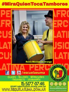 BUENOS DIAS! Hoy es martes de #MiraQuienTocaTambores/ Compartiremos fotografías de famosos tocando percusión! Si tenés alguna, compartila con nosotros! hoy, Reina Máxima de Holanda.