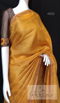 Tussar Silk Saree With Kantha Work Border And Hand Embroidered Blouse. Cotton Saree Designs, Half Saree Designs, Saree Blouse Neck Designs, Saree Blouse Patterns, Indian Silk Sarees, Tussar Silk Saree, Indian Gowns, Trendy Sarees, Fancy Sarees