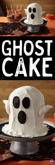 Let this sweet ghostly apparition haunt your Halloween party. The ghost cake is easy to make using Wilton 6 in. Round Pan and buttercream icing. by anne Halloween Baking, Fete Halloween, Halloween Goodies, Halloween Desserts, Holidays Halloween, Halloween Kids, Halloween Treats, Easy Halloween Cakes, Holloween Cake