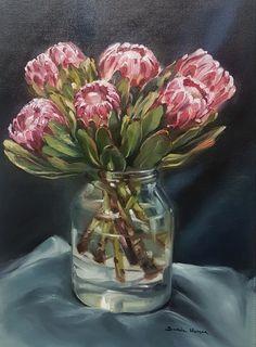 Protea Art, Protea Flower, Watercolor Flowers, Watercolor Art, Hydrangea Painting, Flower Art, Art Flowers, South African Artists, Guache