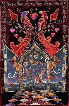 """""""Love Birds"""", portes ouvertes, by Mme Isabelle Robert-Tranchet.  Grand prize, Pour l'Amour du Fil 2010 (Nantes)."""