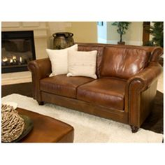 Paladia Top Grain Leather Loveseat in Rustic Leather Sofa Set, Leather Loveseat, Leather Furniture, Furniture Layout, Living Room Furniture, Living Room Decor, Living Rooms, Maron, Grey And Brown Living Room