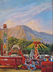 """County Fair by Nancee Jean Busse Acrylic ~ 24"""" x 18""""-Original Colorful Fairgrounds Colorado Landscape """"County Fair"""" by Colorado Artist Nancee Jean Busse, Painter of the American West"""
