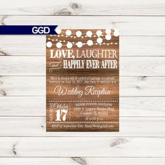 Items similar to Vintage Lights on Rustic Wood Rehearsal Dinner Invitation, rehearsal and dinner invite, wedding rehearsal dinner invitation on Etsy Wedding Reception Invitations, Rustic Wedding Reception, Rehearsal Dinner Invitations, Wedding Rehearsal, Our Wedding, Wedding Things, Rustic Rehearsal Dinners, Rainbow Wedding, Adult Birthday Party