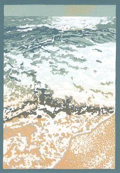 """Cape Vidal"" reduction linocut by Annamie Pretorius. http://inugie.com/ Tags: Linocut, Cut, Print, Linoleum, Lino, Carving, Block, Woodcut, Helen Elstone, Sea, Ocean, Waves."