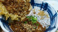 しらすの釜揚げ、佃煮、かき揚げの三色(?)の丼