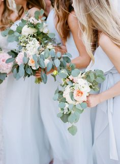 Light blue bridesmaid dresses + pretty spring wedding bouquet #wedding #bridesmaiddresses