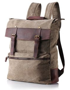 ZEKAR Vintage Waxed Canvas Leather Backpack, Multipurpose Daypacks >>> Additional details at the pin image, click it  : Travel Backpack