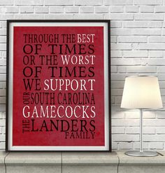 """South Carolina Gamecocks Personalized Art Print- """"Best of Times"""" Dickens Parody- Unframed"""