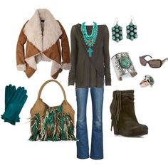 Southwest Winter Shearling~Turquoise~Fringe~Leather But the purse has to go and the boots need to be western!