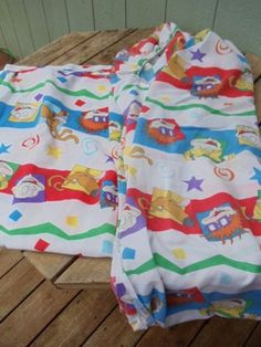 RARE-90-039-s-VINTAGE-RUGRATS-Twin-1-Flat-1-Fitted-Sheet-SET-FABRIC-CRAFTS