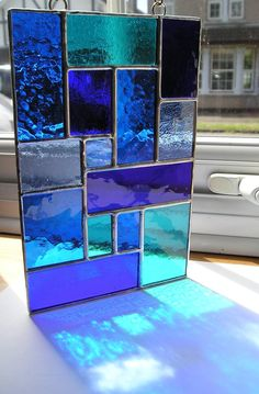 Stained Glass Abstract / Geometric Panel / Suncatcher in Shades of Blue, Handmade in England – Verre et de vitrailes Stained Glass Lamps, Stained Glass Designs, Stained Glass Projects, Stained Glass Patterns, Stained Glass Windows, Mosaic Glass, Window Glass, Stained Glass How To, Stained Glass Cabinets