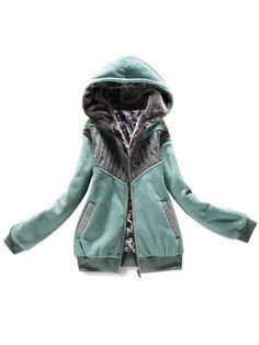 Fashion Warm Side Pocket Zippered Hooded Cotton Coat