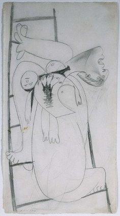 Madre con niño muerto en escalera (I). Dibujo preparatorio para «Guernica»