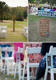 I love the photos hung on the chairs!! Such a personal detail and it's colorful and sweet!  I also love that they let everyone know they didn't have to split up by Bride's Side/Groom's Side for the ceremony.  If that's what you want for your ceremony, this is a great way to let your guests know. -  via Every Last Detail, photos by Christie Meresse Photography