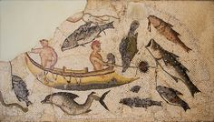 Mosaic Image of Fishing Scene from 3rd - 4th Century Utica