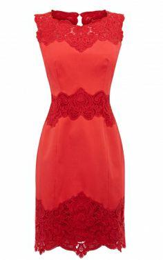 Karen Millen Cotton Lace Panel Dress Coral