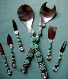Wire wrap and bead your own flatware... DIY