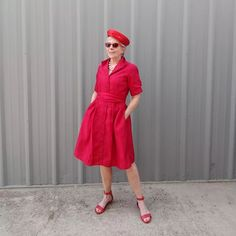 An all red outfit ensemble - vintage dress, beret and sandals | Photo shared by Eileen | For more style inspiration visit 40plusstyle.com
