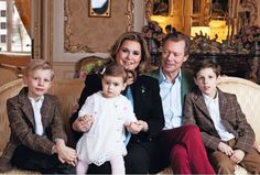 Grand Duchess Maria Teresa with husband Grand Duke Henri with their grandchildren Princes Noah and Gabriel and Princess Amalia all of Luxembourg