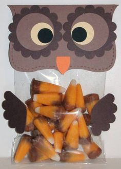Top Note Owl Treat Bags. Cute for Valentine's if I change the colors.