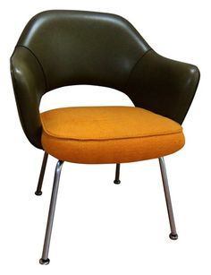 Saarinen Executive Armchair by Knoll  Ref. Redo seat on red wool chair in leather and get these metal legs.