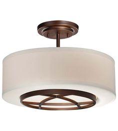 Minka-Lavery City Club 3 Light Semi-Flush in Dark Brushed Bronze 4951-267B