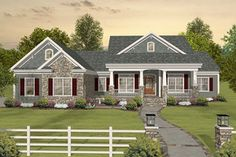 Love this house! Eplans Craftsman House Plan - Tons of Room to Expand - 2156 Square Feet and 3 Bedrooms from Eplans - House Plan Code House Plans One Story, Country House Plans, New House Plans, Story House, House Floor Plans, Country Homes, One Story Homes, Country Style Houses, Southern Ranch Style Homes
