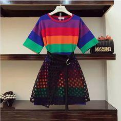 Women rainbow striped T-shirt dress+ black skirt T-shirt dress Black hollow out skirt Stretchy material Two piece set Dresses Mini Teen Fashion Outfits, Mode Outfits, Look Fashion, Korean Fashion, Girl Fashion, Fashion Dresses, Fashion Design, 80s Fashion, Grunge Fashion