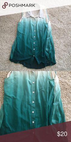 Fab'rik Ombré shirt Ombre button down silk blend size large. No signs of wear Fab'rik Tops Button Down Shirts