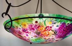 Pale Green Garden Hand Painted Chandelier by Jenny Floravita