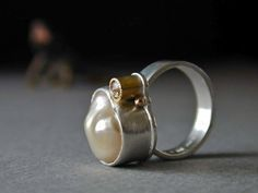 White Freeform Pearl and Rose Cut Diamond Ring