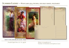 3 Design postcards, instant download, size 9 x 4 inches, double sided, foldable for glueing!  #postcards, #vintage, #victorian, #ladies, #woman, #summer, #flowers, #romantic, #ornaments, #download, Image Collage, Service Logo, Tag Image, Victorian Ladies, Design Studio, Visual Communication, Grafik Design, Corporate Design, Summer Flowers