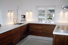 Nice combination; corian and wood