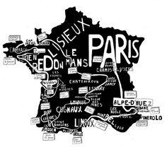 Tour the France Map Alpe D Huez, Geometric Painting, Paris Map, Italy Map, Toned Paper, Minimalist Painting, Handwritten Letters, France Map, Bike Art