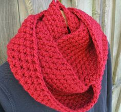 Crochet Infinity Cowl  Double Wrap Extra Long in Red by KnitMomWi, $45.00