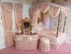 Gorgeous rosewood drapery sheer, with loopy trim. DOLLHOUSE CANOPY BEDROOM SETS