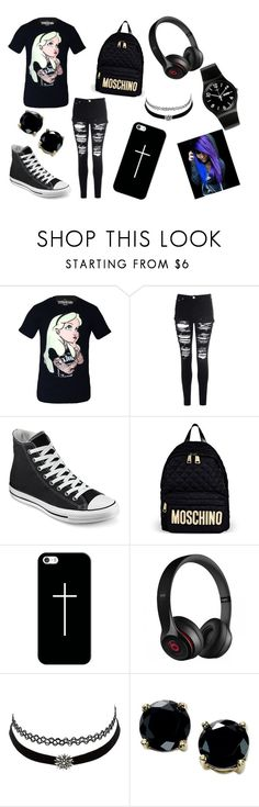 """Emo "" by holspx ❤ liked on Polyvore featuring Disney, Glamorous, Converse, Moschino, Casetify, Beats by Dr. Dre, Charlotte Russe, B. Brilliant and Swatch"