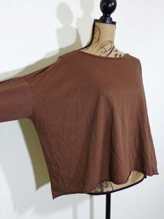 Planet Lauren Grossman shirt lagenlook top art to wear artsy brown Pima sz OS #PlanetLaurenGrossman #Blouse #Casual