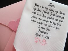 Free Gift Box Included. Personalized Embroidered Wedding Handkerchief. Perfect gift for the Bride or Grooms Parents., $24.00