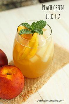 Peach Green Iced Tea- super refreshing and summery! @carmelmoments #icedtea #summerstyle