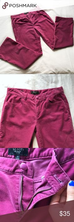 "Talbots Petite Pink Velvet Bootcut Pants Beautiful velvety pants by Talbots. Perfect condition; no flaws! Features a velvety cotton blend material, dusty rose Magenta shade, a loose fit with their Signature Bootcut style, button and zipper closure, 2 pockets in front and back, belt loops, and a neat hem on the legs. 15.5"" across the waist, 28.5"" inseam, 9"" rise, 38"" full length. Perfect for fall and winter. Again, perfect condition! Feel free to bundle or make an offer! Talbots Pants Boot…"