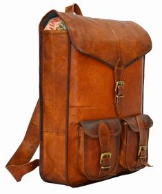goatstuff real leather travel backpack rucksack unisex bag briefcase from india Vintage Leather Backpack, Leather Backpack For Men, Leather Bags For Men, Chloe Bag, Rucksack Backpack, Messenger Bag, Travel Backpack, Canvas Backpack, Leather Roll